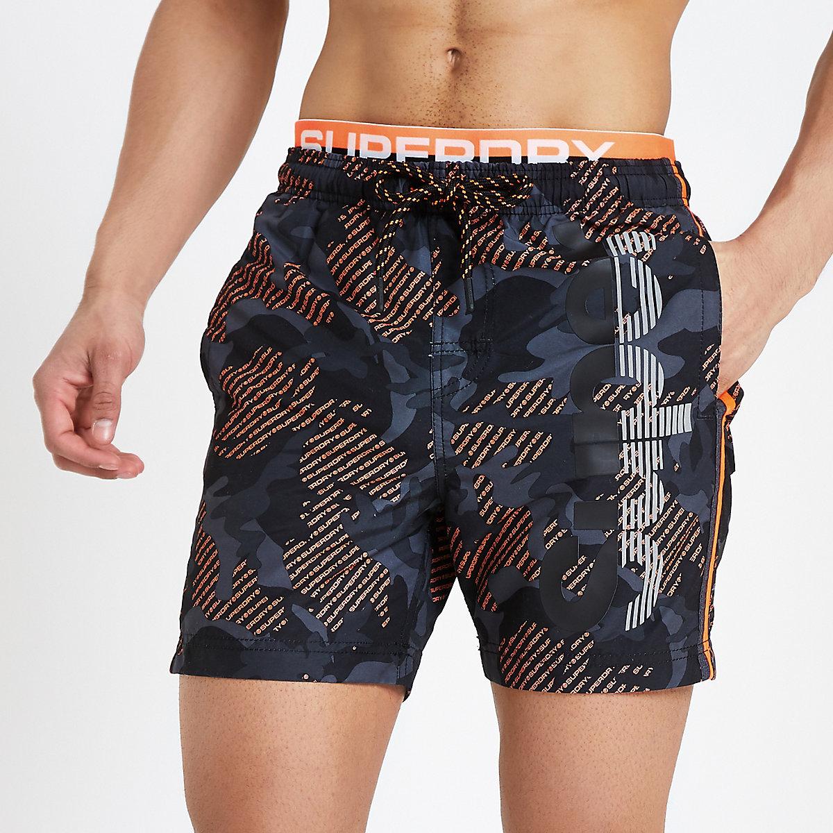 Superdry black camo swim shorts