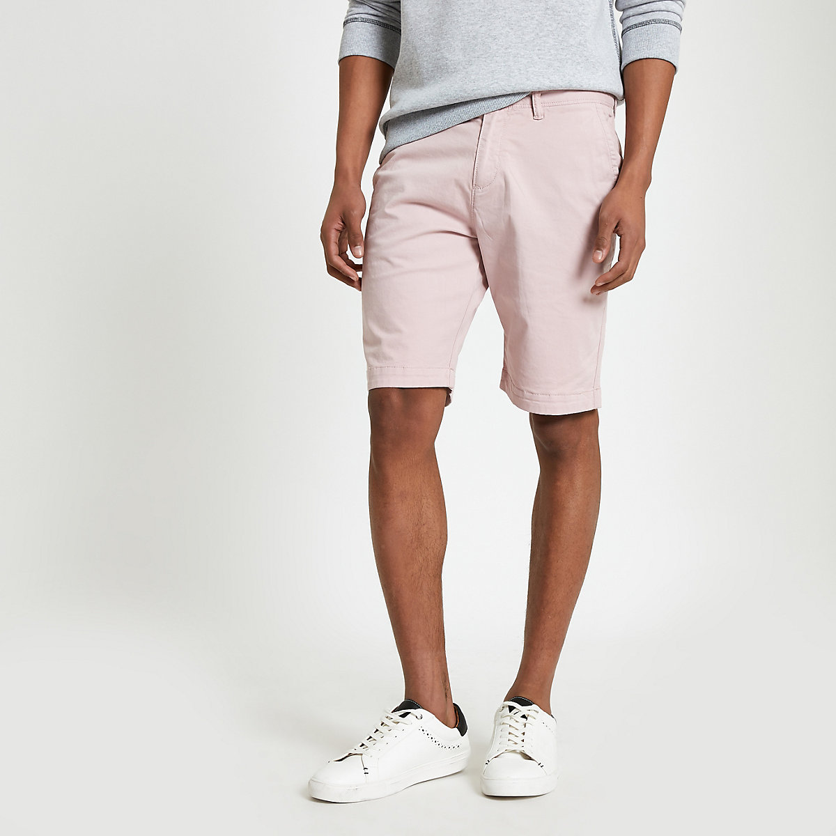 Superdry pink slim fit chino shorts