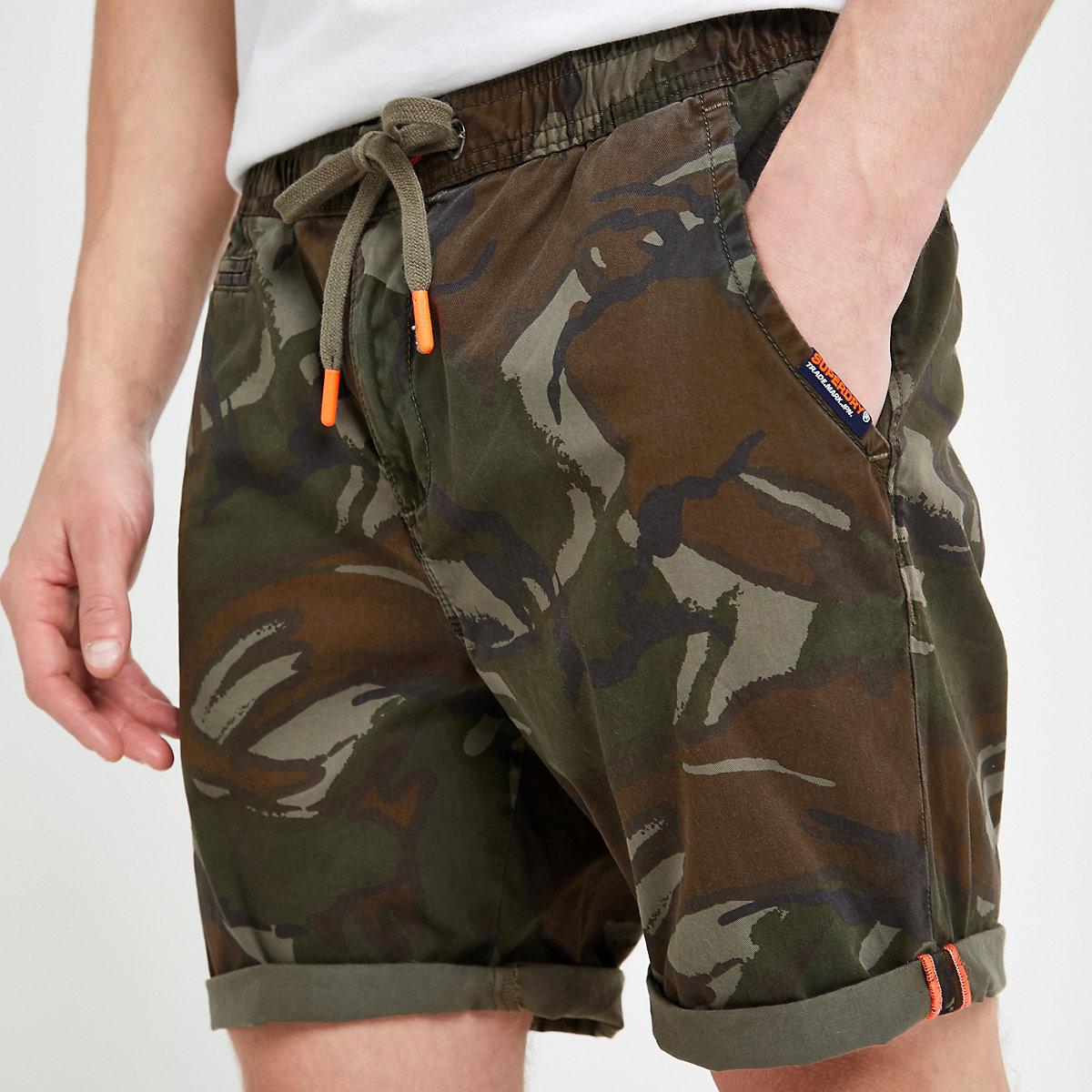 Superdry khaki camo shorts