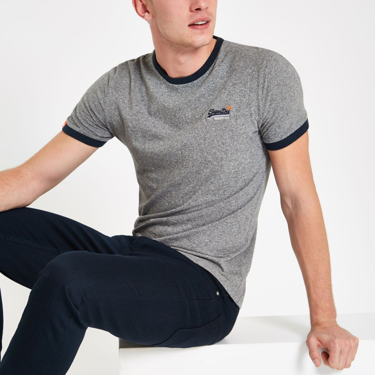 Superdry grey logo print crew neck T-shirt