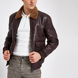 Burgundy faux leather fleece collar jacket