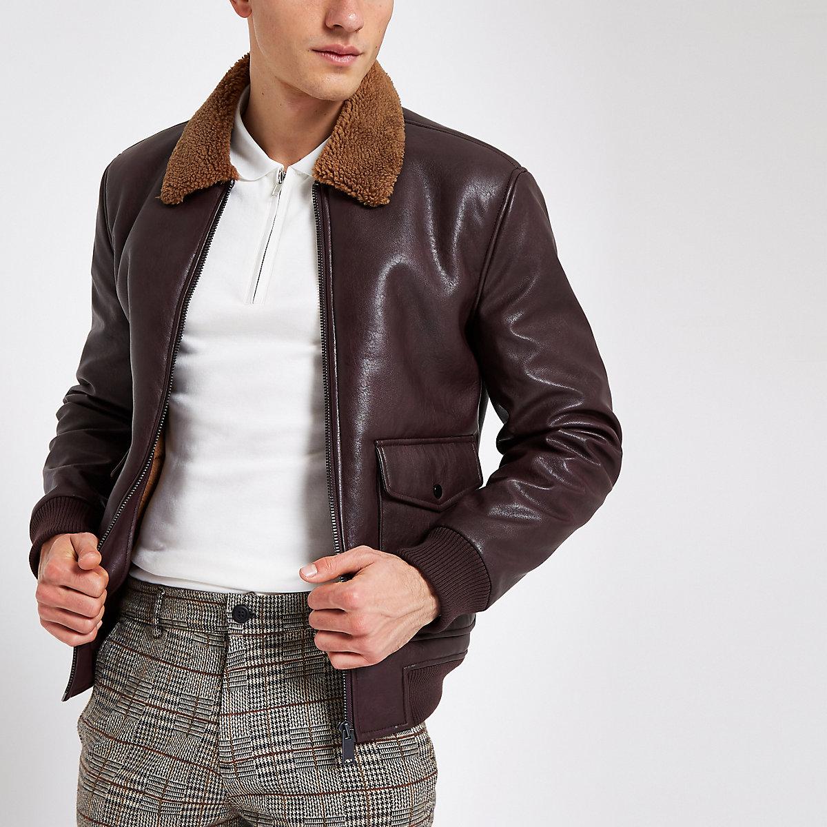 Burgundy faux leather fleece collar jacket