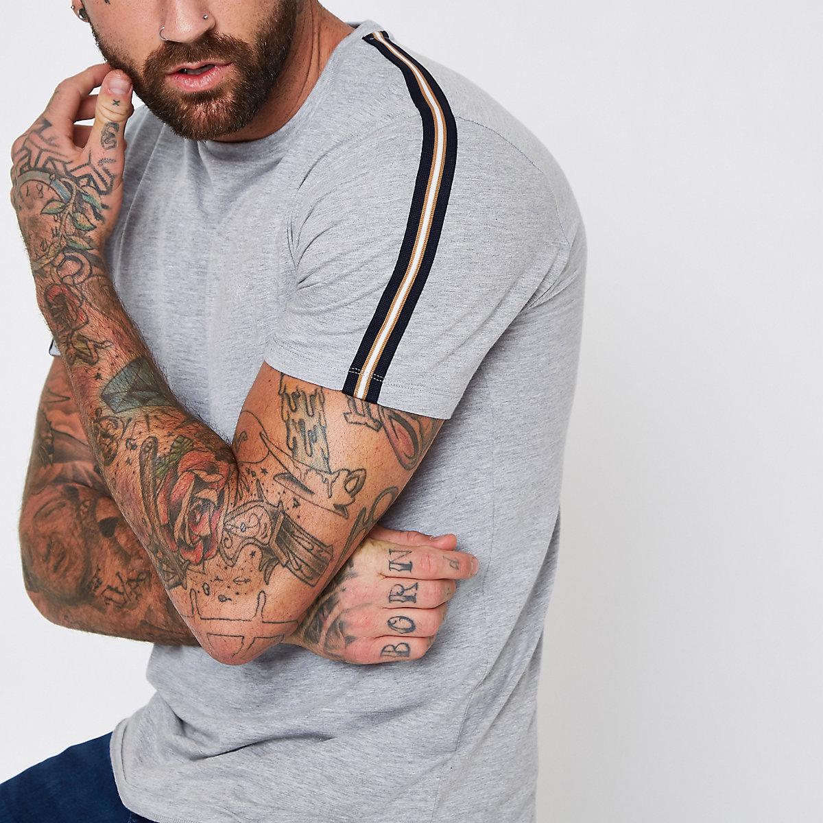 Grey marl short sleeve tape T-shirt