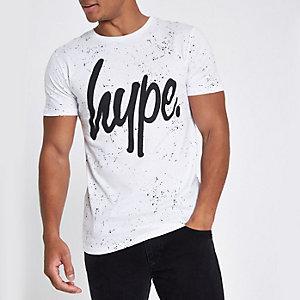 Hype – T-shirt imprimé moucheté blanc