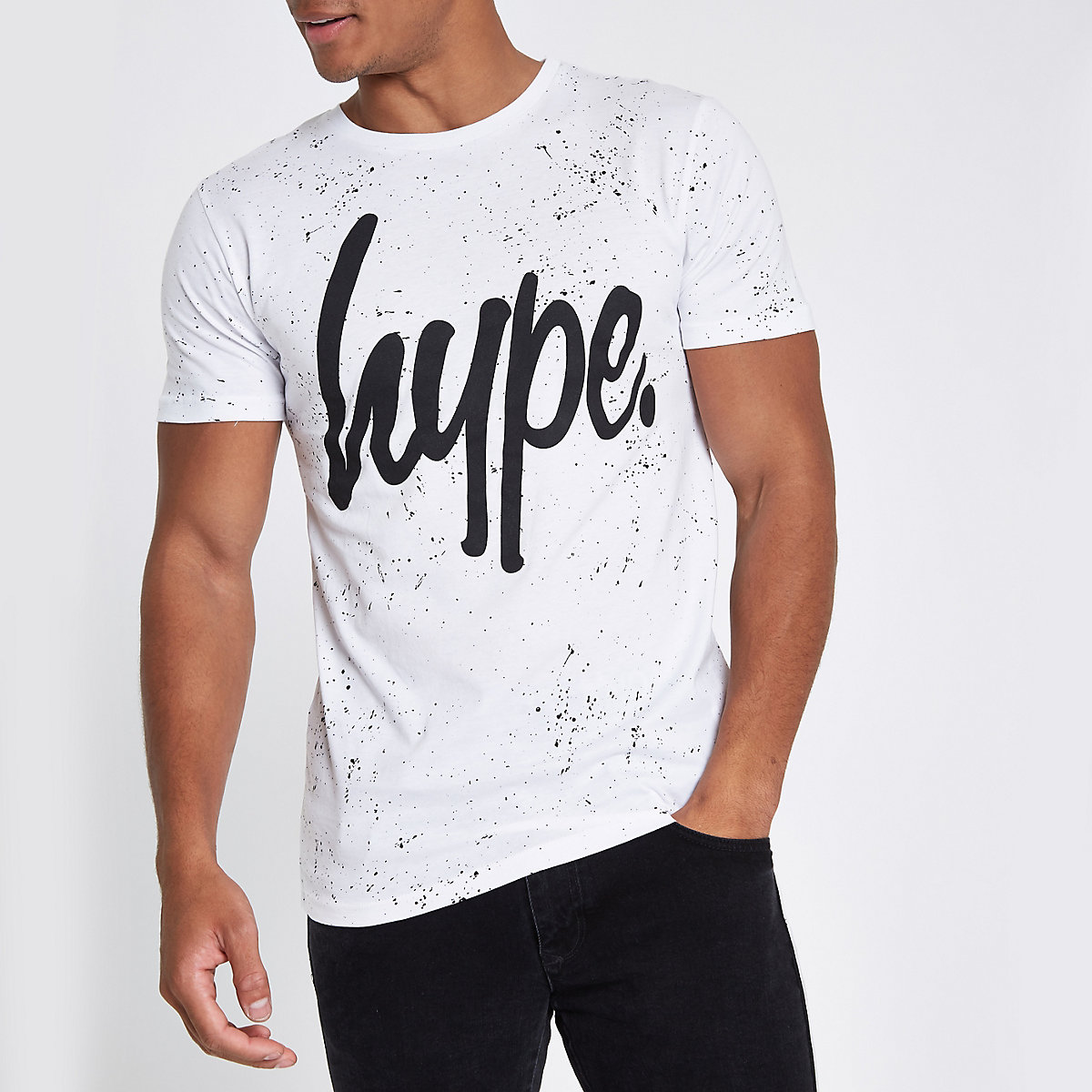 Hype white speckle print T-shirt
