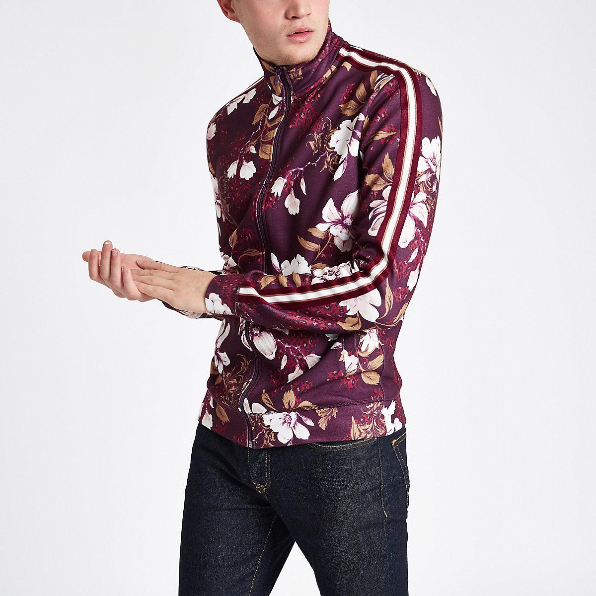 Burgundy floral slim fit track jacket