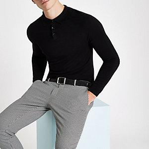 Olly Murs – Schwarzes Muscle Fit Polohemd