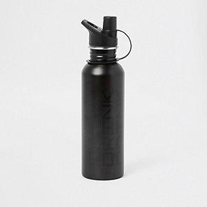 Grijze waterfles met 'drink'-print