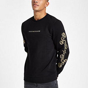Schwarzes Slim Fit Sweatshirt mit Barockärmeln