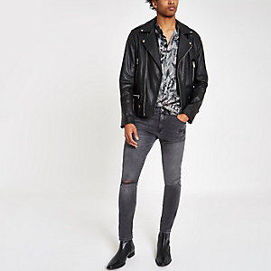 Ollie – Schwarze Super Skinny Jeans im Used-Look