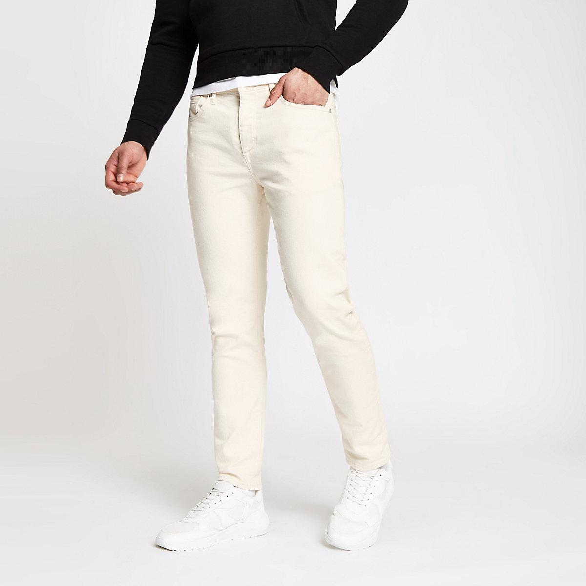 Ecru tapered jeans