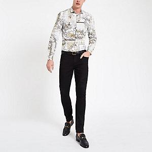 Weißes Button-Down-Hemd mit Print
