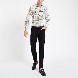 White baroque print button-up shirt