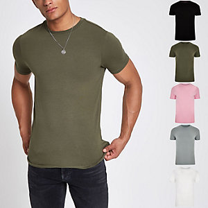 Multicoloured muscle fit T-shirt multipack