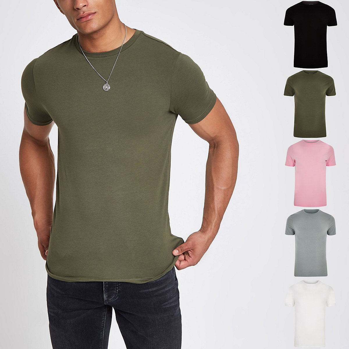 Multicoloured muscle fit T-shirt 5 pack