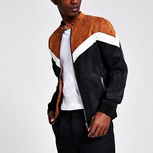 Brown chevron racer neck jacket