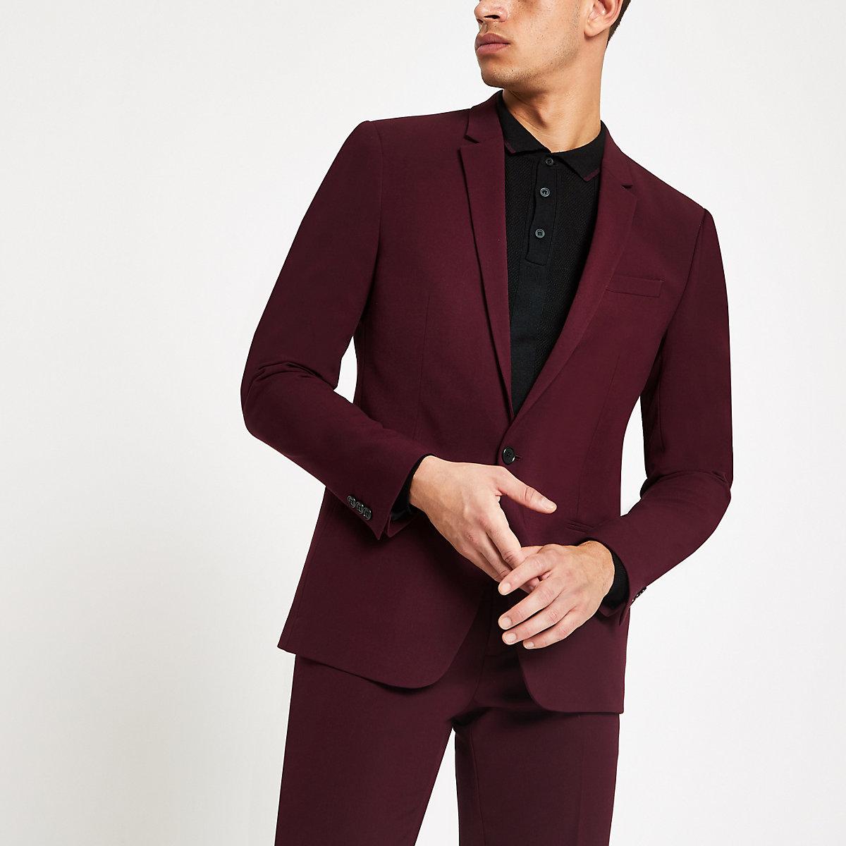Veste de costume skinny bordeaux