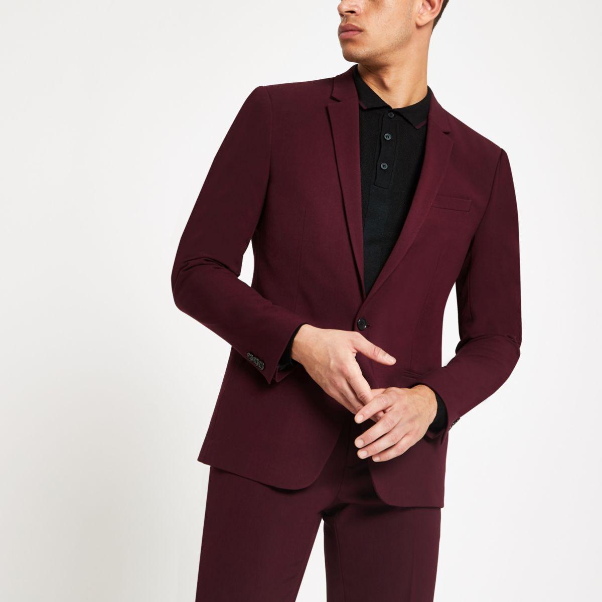 Burgundy skinny fit suit jacket