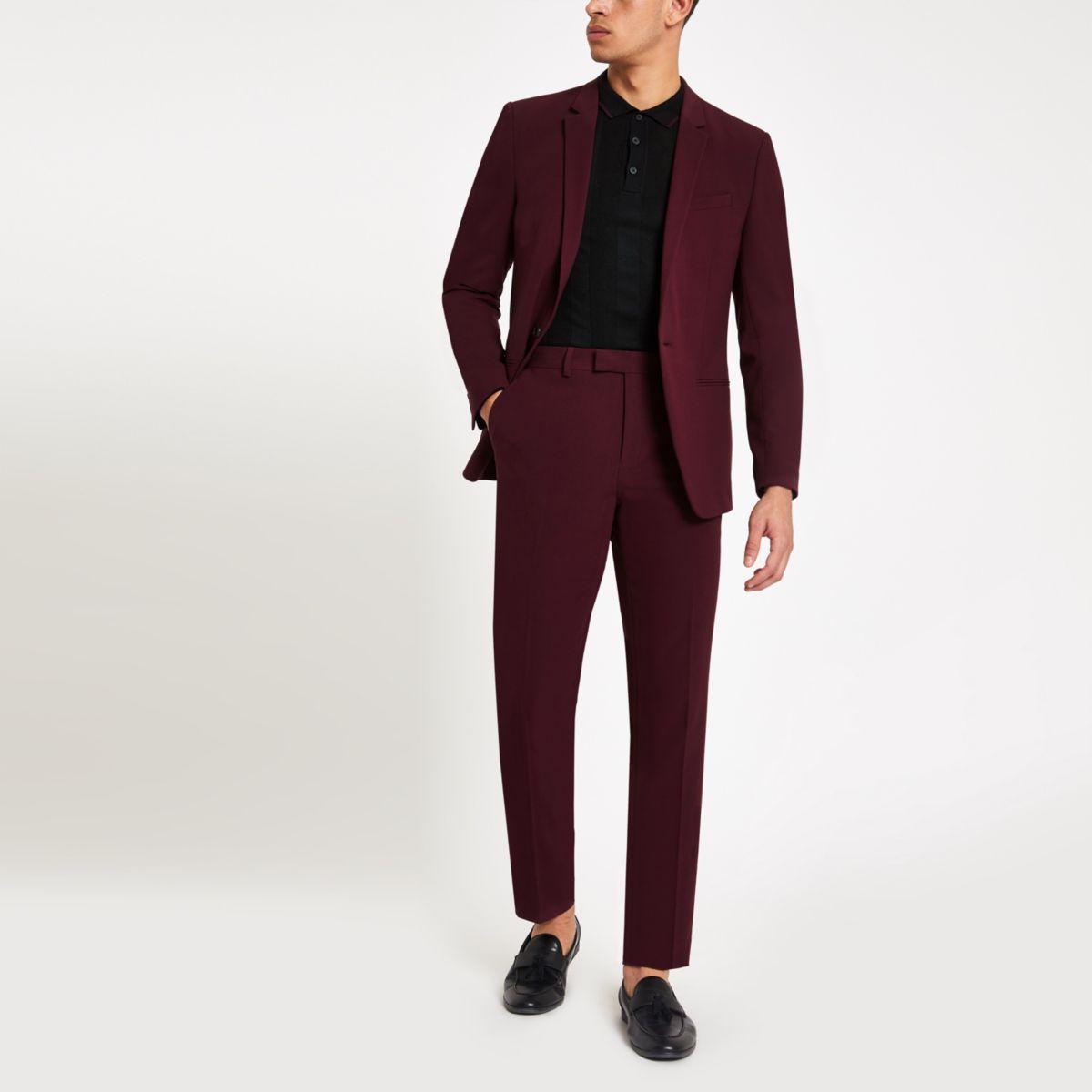 Burgundy skinny fit suit pants