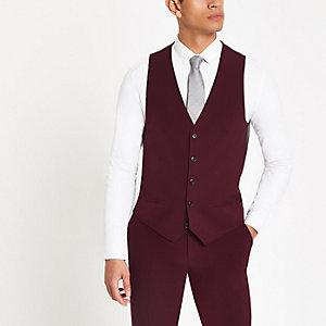 Burgundy suit waistcoat