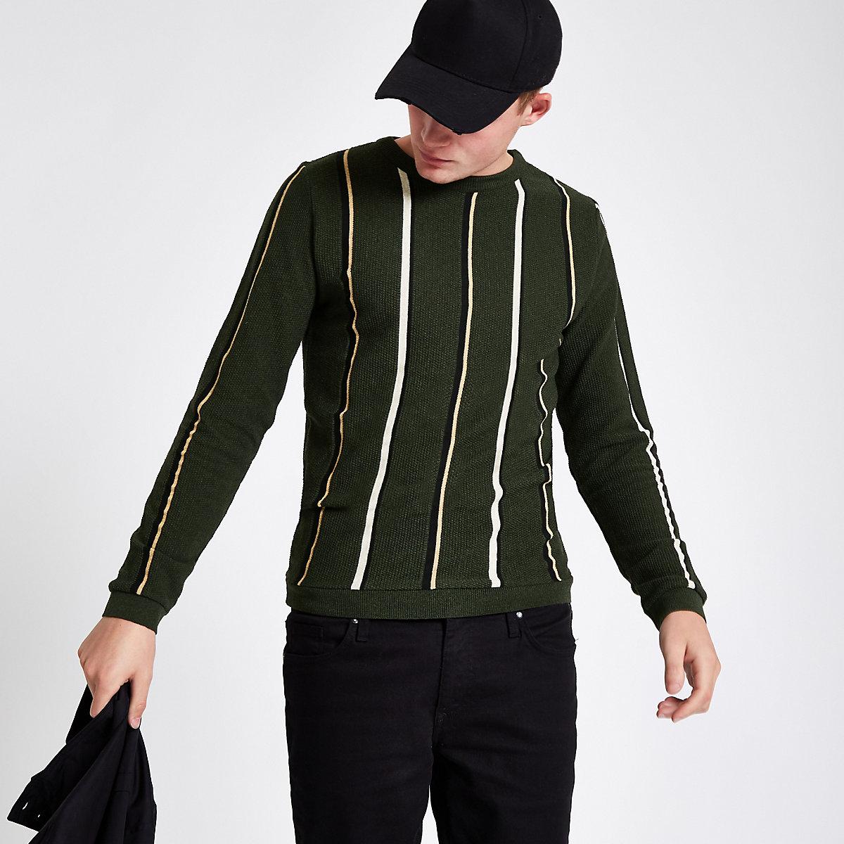 Khaki green slim fit stripe textured sweater