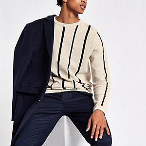 Ecru stripe slim fit stripe textured sweater