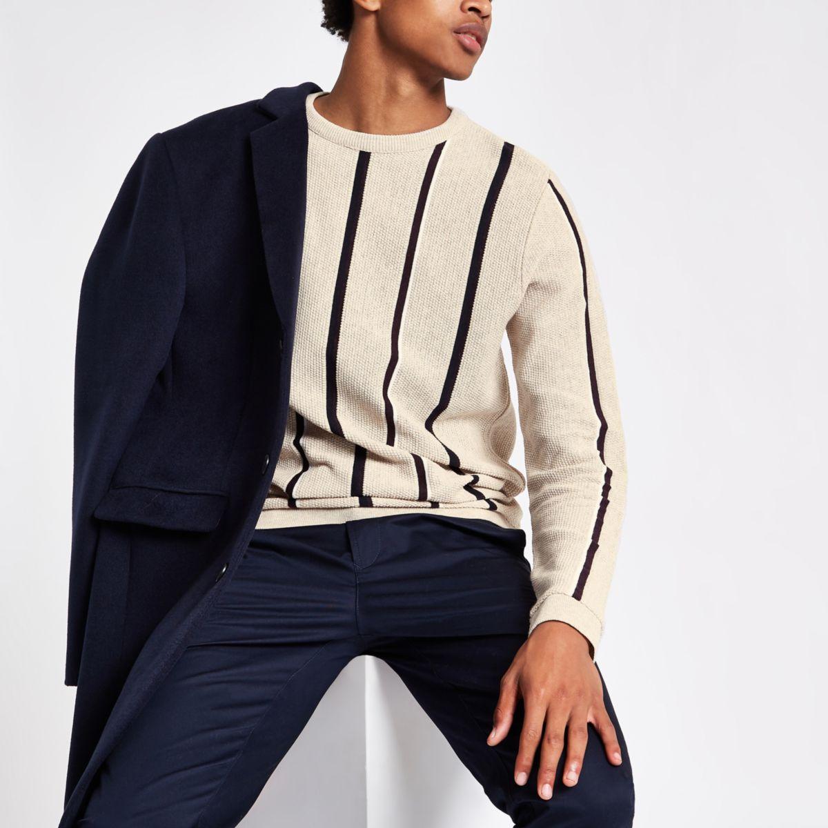 Ecru stripe slim fit stripe textured sweater