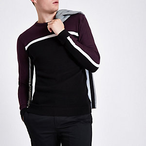 Burgundy slim fit colour block stripe jumper