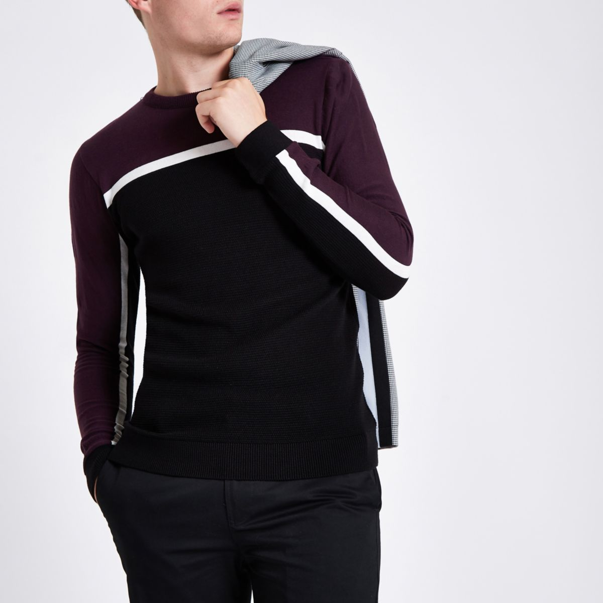 Burgundy slim fit color block stripe sweater