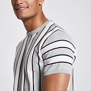 T-shirt slim rayé gris