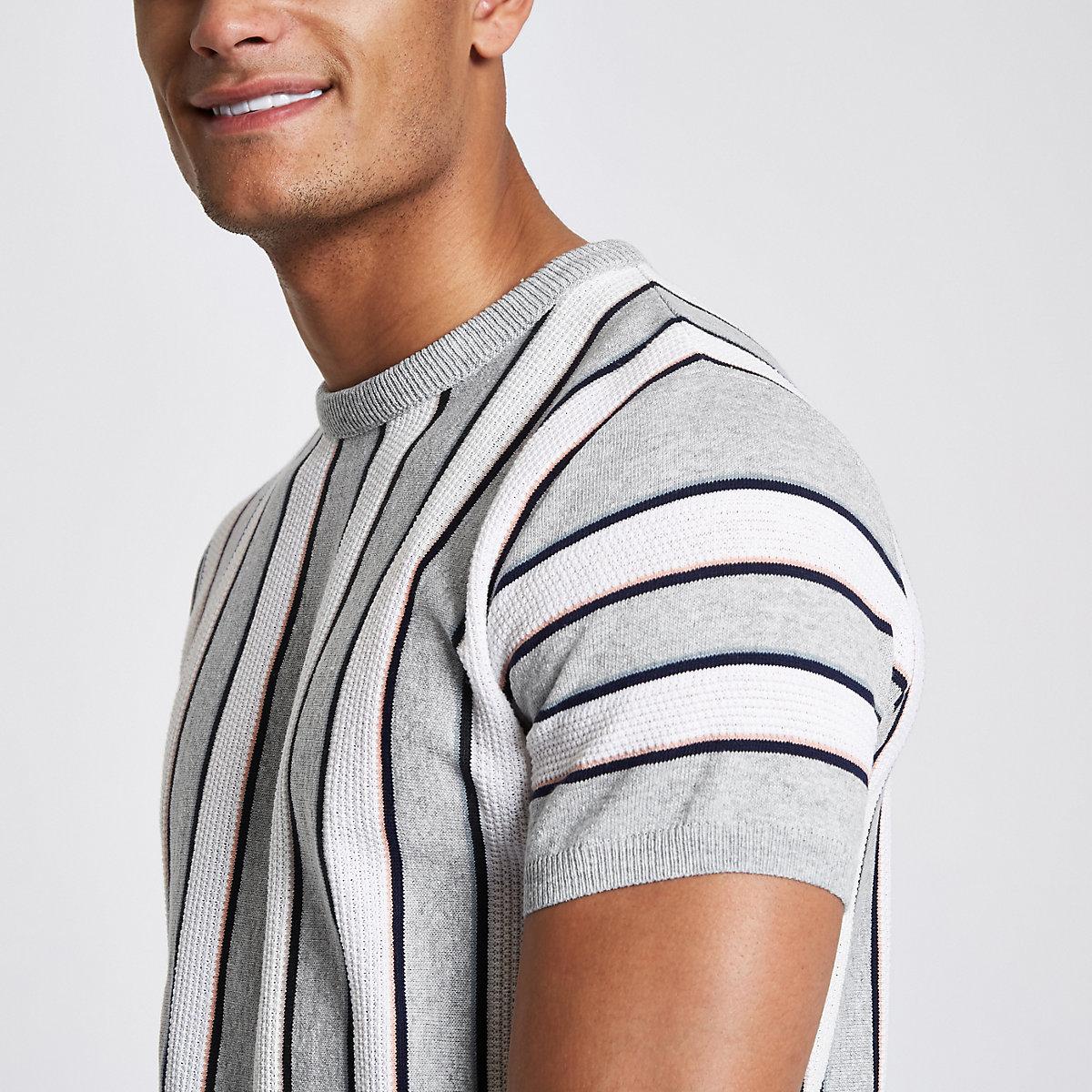 Grey stripe slim fit T-shirt