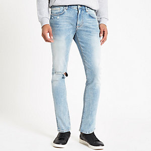 Sid - Middenblauwe ripped skinny jeans