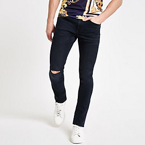 Sid - Donkerblauwe skinny ripped jeans