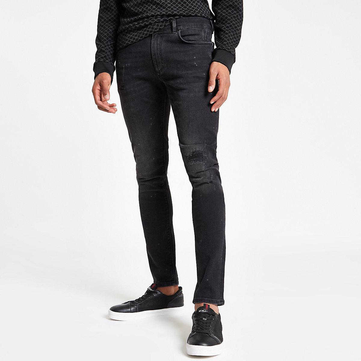 Black wash Sid ripped skinny jeans