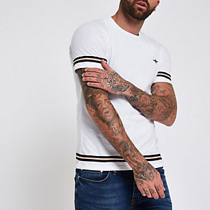 White short sleeve tape T-shirt