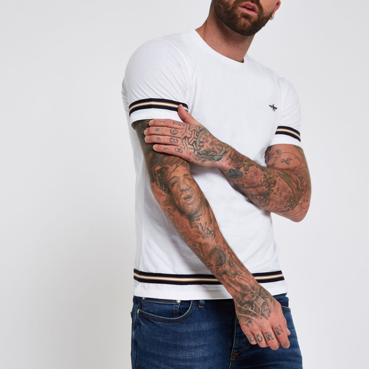 White short sleeve tape T-shirt