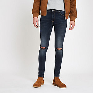 Danny - Donkerblauwe superskinny ripped jeans