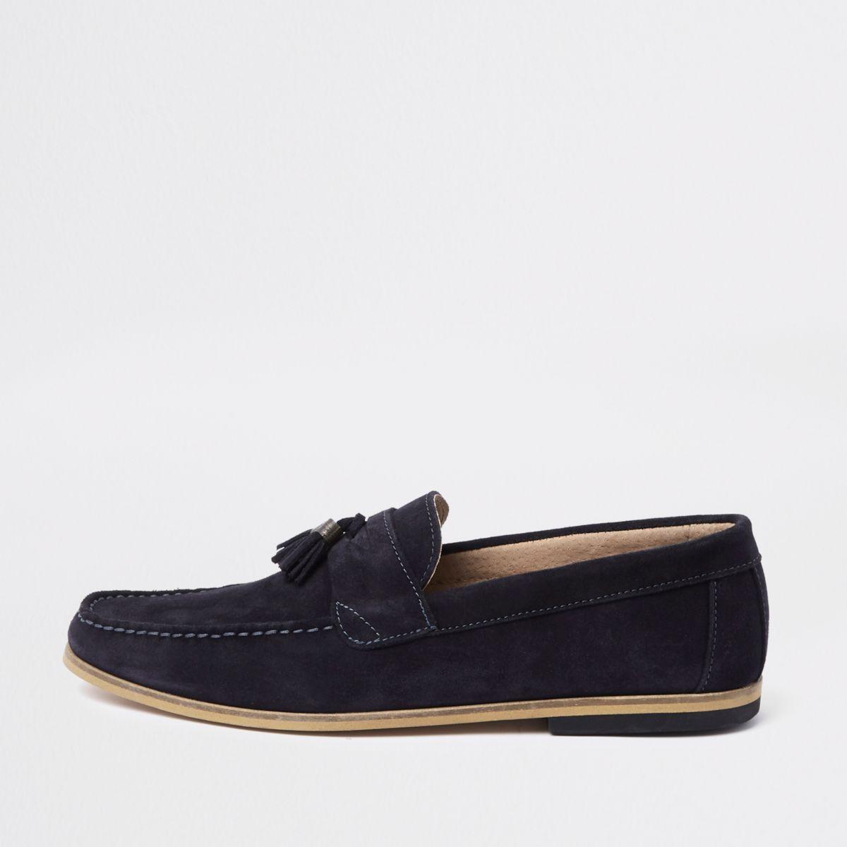 Navy suede contrast heel tassel loafers