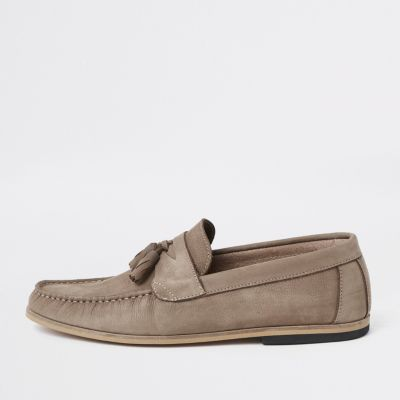 Stone Tumbled Leather Tassel Loafers by River Island