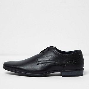 Black wide fit lace-up derby shoes