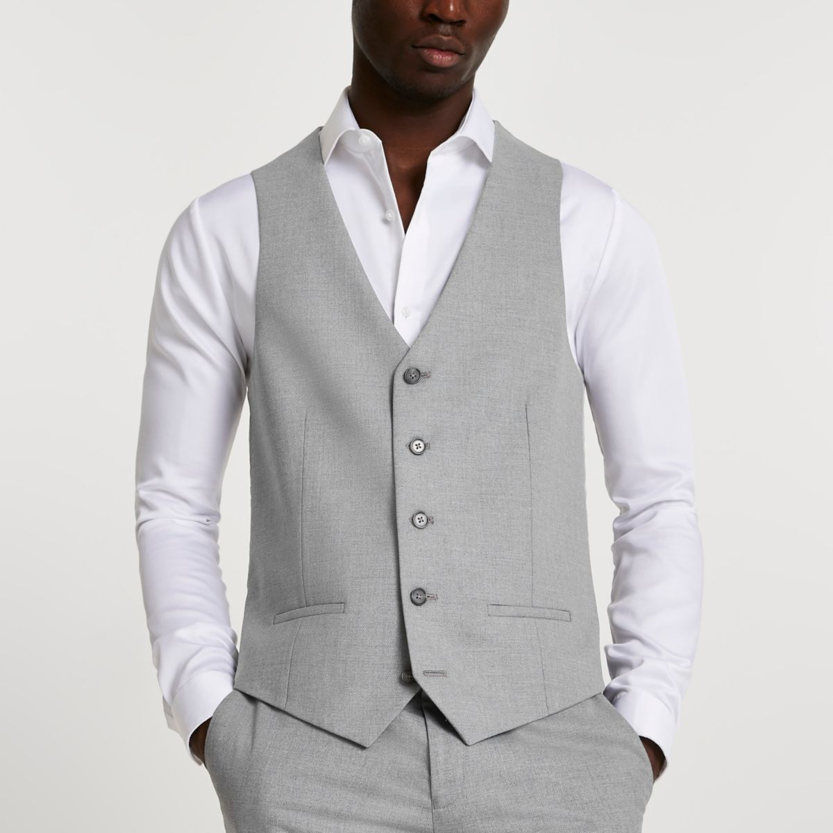 Grey textured suit vest