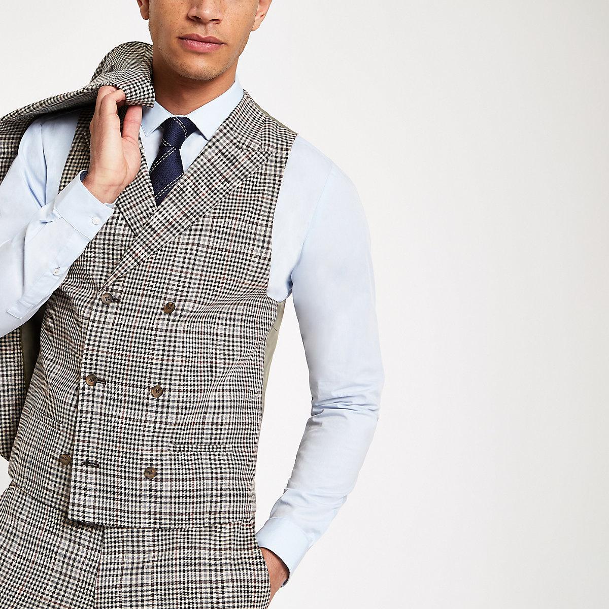 Brown heritage check suit waistcoat