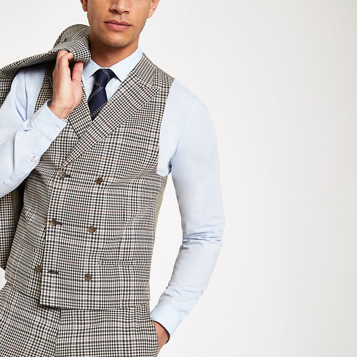 Brown heritage check suit vest