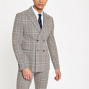Veste de costume skinny à carreaux marron traditionnelle