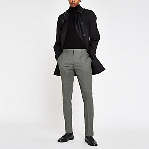 Pantalon skinny habillé gris plissé