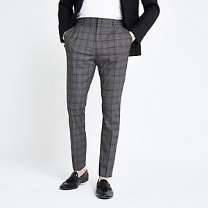 Pantalon skinny plissé à carreaux gris foncé