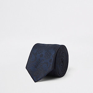Navy lace tie