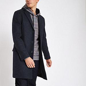Manteau bleu marine moucheté