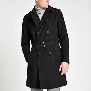 Trench-coat croisé noir à ceinture