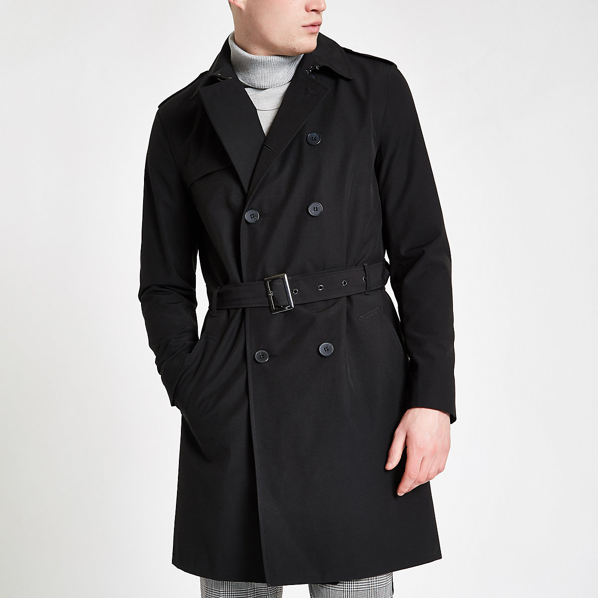 Black double breasted belted trench coat